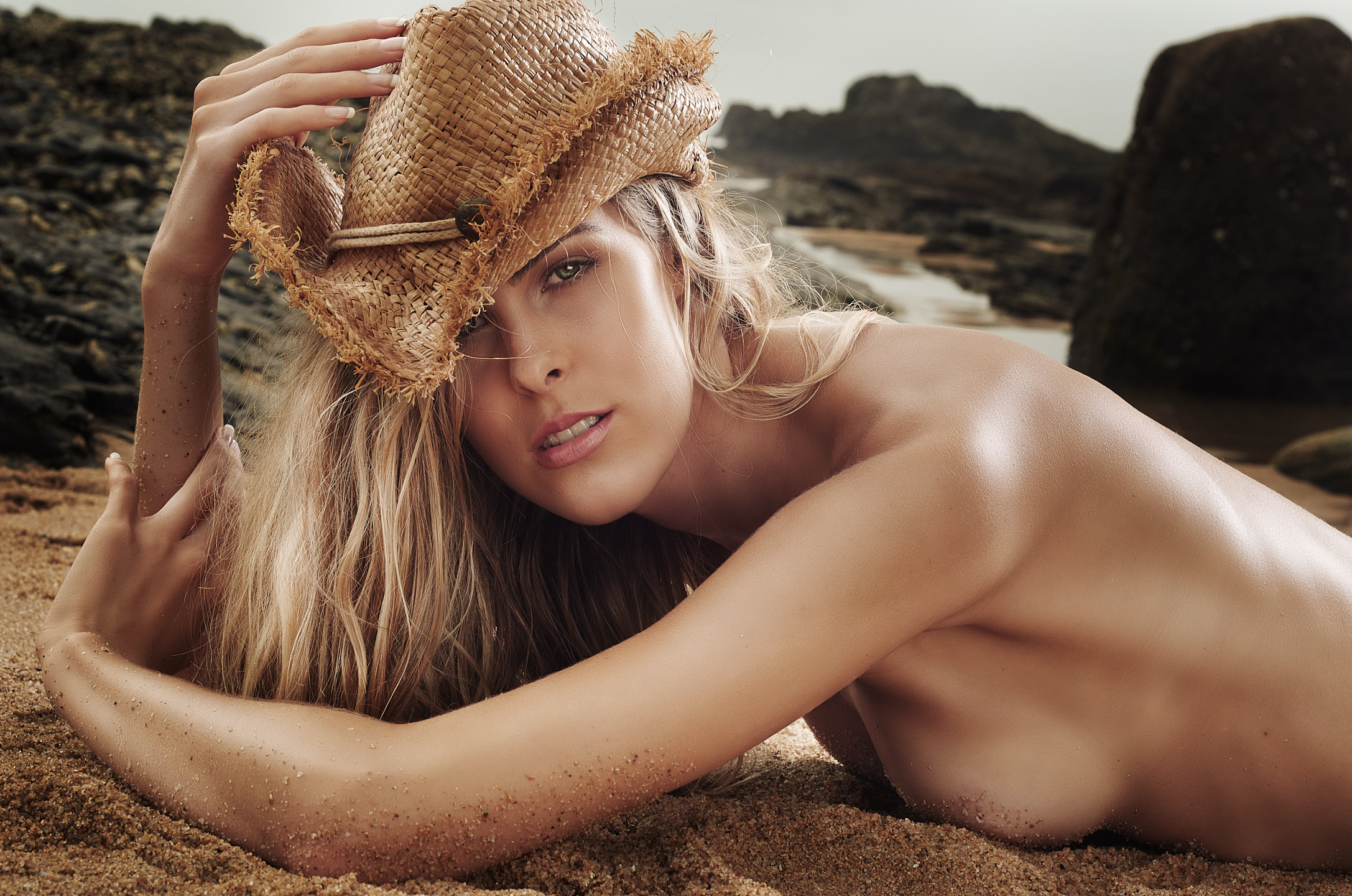 swimwear-model-topless-hat-beach-fashion-portrait